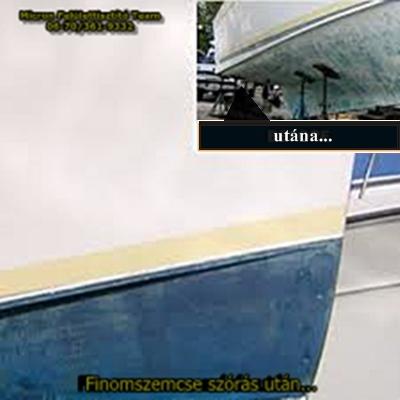 Hajótest, hajófenék tisztítás szódabikarbóna szórással.